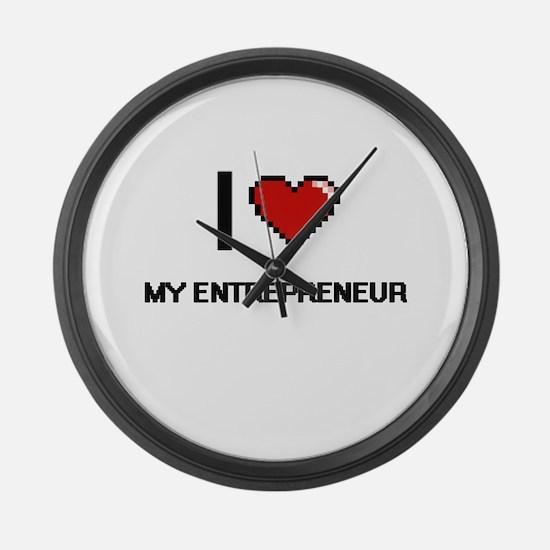 I love My Entrepreneur Large Wall Clock