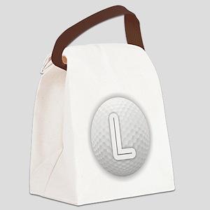 L Golf Ball - Monogram Golf Ball Canvas Lunch Bag