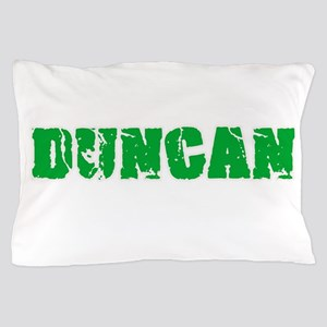 Duncan Name Weathered Green Design Pillow Case