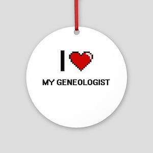I Love My Geneologist Round Ornament
