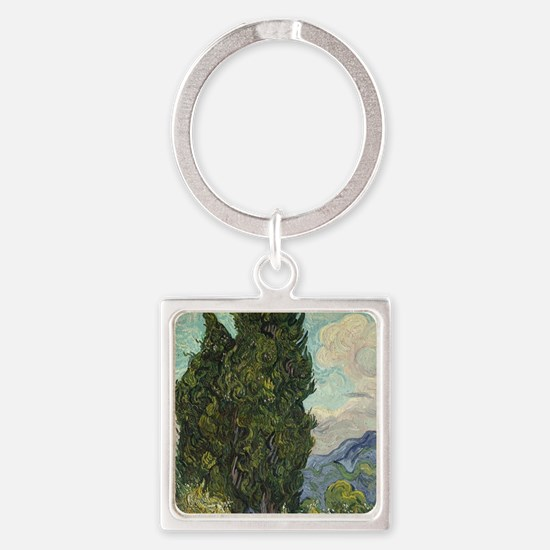 Unique Cypress trees Square Keychain
