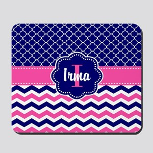 Navy Pink Quatrefoil Personalized Mousepad