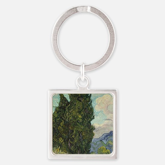 Cute Cypress trees Square Keychain