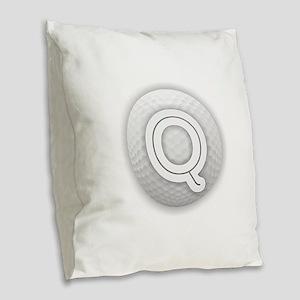 Q Golf Ball - Monogram Golf Ba Burlap Throw Pillow