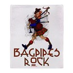 Bagpipes Rock Throw Blanket
