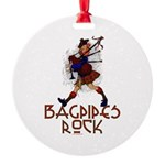 Bagpipes Rock Round Ornament