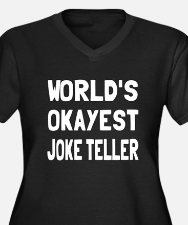 World's Okay Women's Plus Size V-Neck Dark T-Shirt
