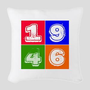 1946 Birthday Designs Woven Throw Pillow