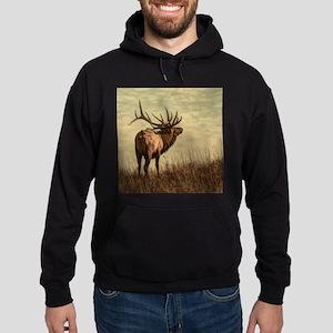 rustic western wild elk Hoodie (dark)