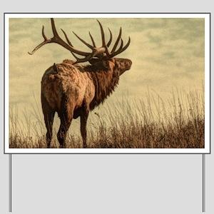 rustic western wild elk Yard Sign