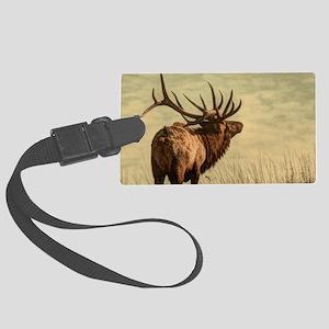 rustic western wild elk Large Luggage Tag