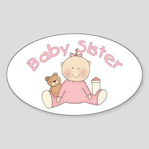 Baby Sister & Teddy Oval Sticker