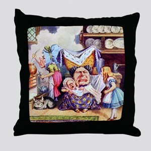 Alice, the Duchess and the Pig Baby Throw Pillow
