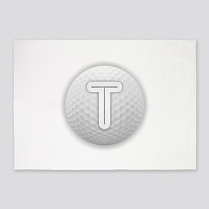 T Golf Ball - Monogram Golf Ball - 5'x7'Area Rug