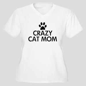 Crazy Cat Mom Women's Plus Size V-Neck T-Shirt