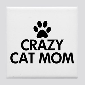 Crazy Cat Mom Tile Coaster