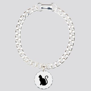 Black Cat Silhouette Charm Bracelet, One Charm