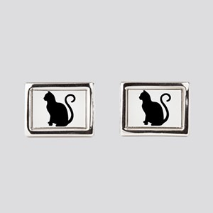 Black Cat Silhouette Rectangular Cufflinks