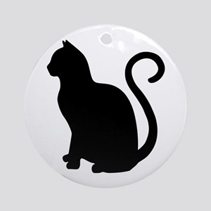 Black Cat Silhouette Round Ornament