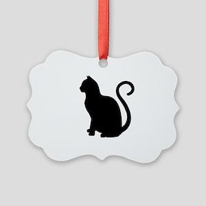 Black Cat Silhouette Picture Ornament