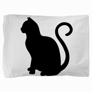 Black Cat Silhouette Pillow Sham