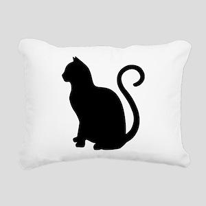 Black Cat Silhouette Rectangular Canvas Pillow