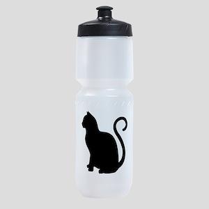Black Cat Silhouette Sports Bottle