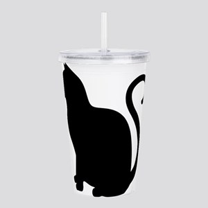 Black Cat Silhouette Acrylic Double-wall Tumbler