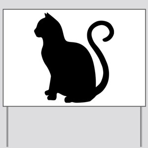 Black Cat Silhouette Yard Sign