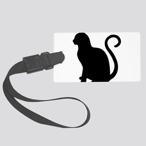 Black Cat Silhouette Large Luggage Tag