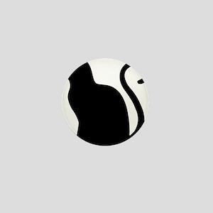Black Cat Silhouette Mini Button