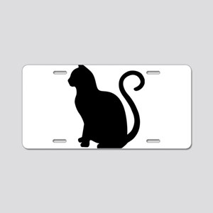 Black Cat Silhouette Aluminum License Plate