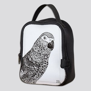 African Grey Zentangle Neoprene Lunch Bag