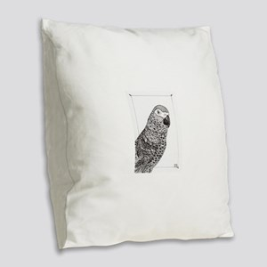 African Grey Zentangle Burlap Throw Pillow