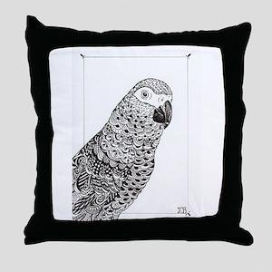 African Grey Zentangle Throw Pillow