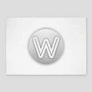 W Golf Ball - Monogram Golf Ball - 5'x7'Area Rug