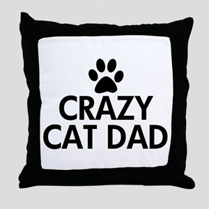 Crazy Cat Dad Throw Pillow