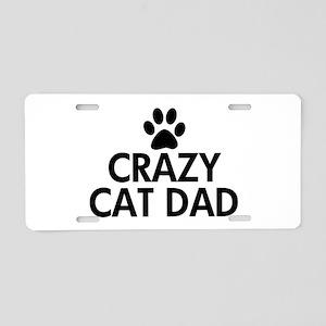 Crazy Cat Dad Aluminum License Plate