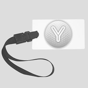 Y Golf Ball - Monogram Golf Ball Large Luggage Tag