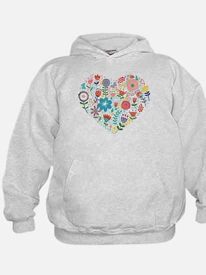 Cute Colorful Floral Heart Hoodie