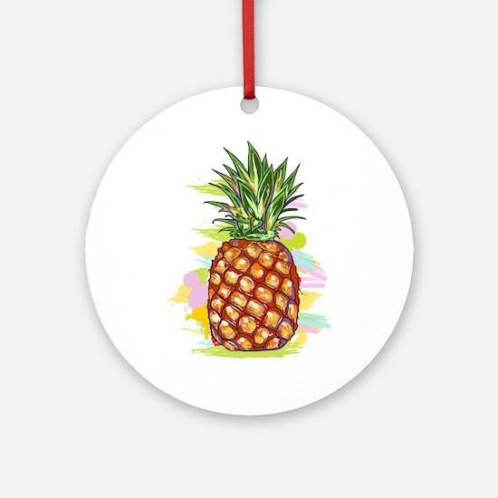 Cute PineApple Illustration Round Ornament