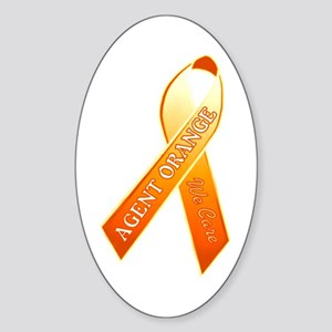 We Care Orange Ribbon Sticker (oval)