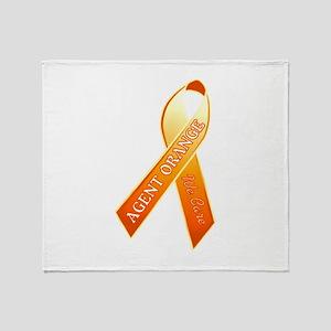 We Care Orange Ribbon Throw Blanket