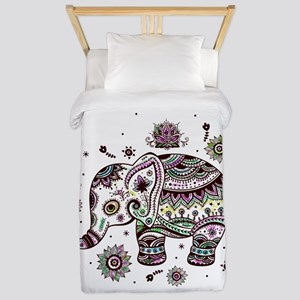 Cute Pastel Colors Floral Elephant Twin Duvet