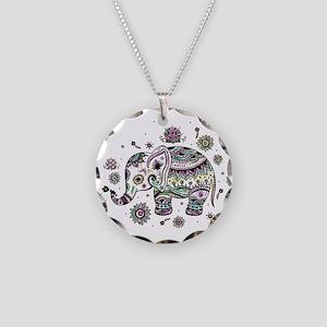 Cute Pastel Colors Floral El Necklace Circle Charm