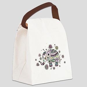 Cute Pastel Colors Floral Elephan Canvas Lunch Bag