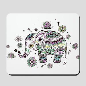 Cute Pastel Colors Floral Elephant Mousepad