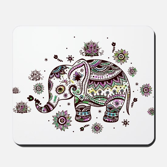 Cute Pastel Colors Floral Elephant Mousepad