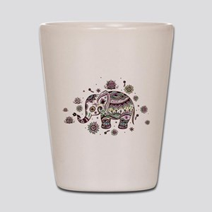 Cute Pastel Colors Floral Elephant Shot Glass