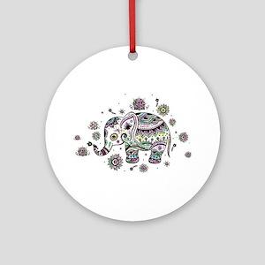 Cute Pastel Colors Floral Elephant Round Ornament